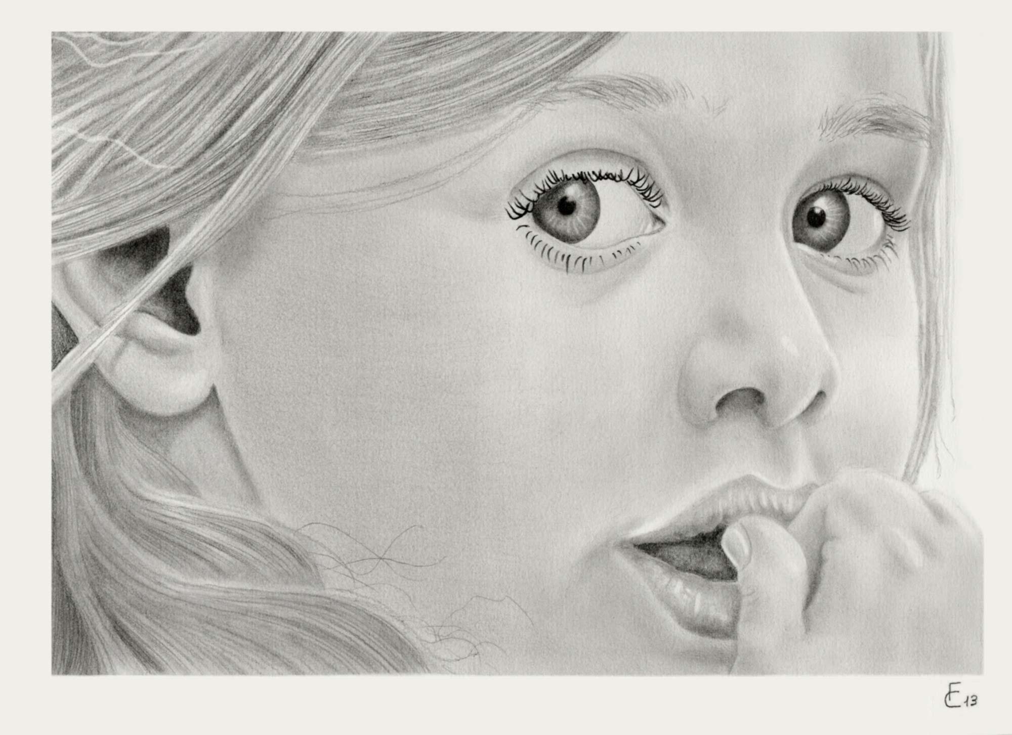 Ritratti a matita di bambini e disegni che arrivano al cuore for Immagini da disegnare a matita facili